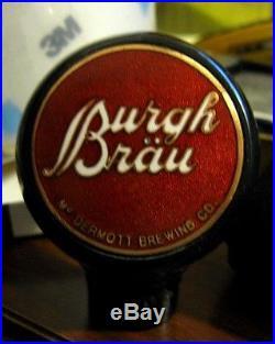Vintage Burgh Brau Beer Frank Mcdermott Brewing Ball Tap Knob Handle Chicago IL