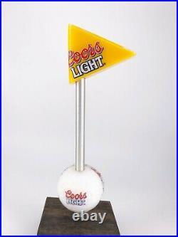 Vintage Coors Light Acrylic Golf Ball Flag Beer Tap Handle Pub Golden Colorado