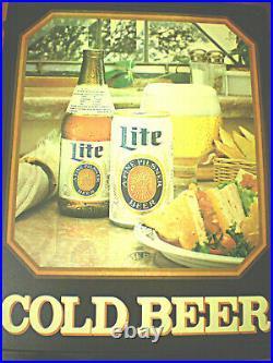 Vintage Miller Lite Beer Illuminated Sign & Lite Beer Tap Handle. NICE