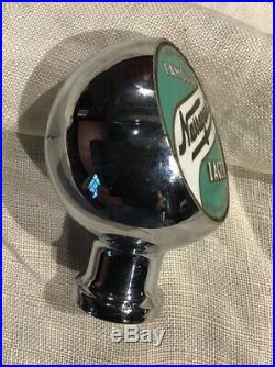 Vintage Narragansett Lager Beer Tap Handle Green White Porcelain Chrome Ex Cond