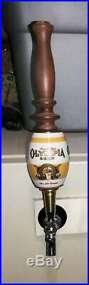 Vintage Olympia Beer Barrel Tap Handle (Brass, Ceramic, and Wood)