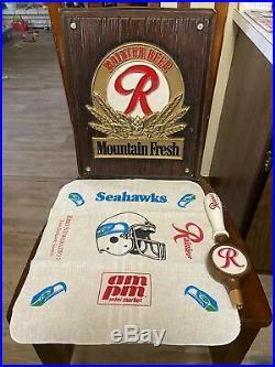 Vintage Rainier Beer Sign Bundle With Tap Handle And Seahawks Team Towel