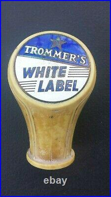 Vintage Trommer's White Label Beer Ball Knob Tap Handle 1930's Brooklyn, NY